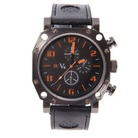 2013 hot new fashion brand V6 Army Military Academy men's brand style metal belt black dial Swiss watches V6345