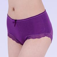 Modal women's lace panties bamboo fibre women's net transparent briefs