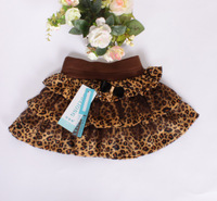 2013 free shipping retail fashion children short mini pleated skirt, girl kids leopard skirt