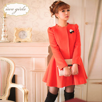 Small 2013 winter new arrival orange sweet woolen medium-long overcoat outerwear