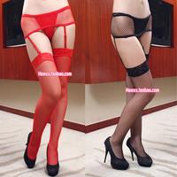 Vintage sexy transparent mesh cutout over-the-knee stockings thigh socks spaghetti strap socks one-piece set plus size