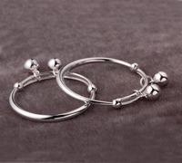 free shipping high quality Baby centenarian silver bracelet glossy baby bell bracelet child 990 999 fine silver bangle set
