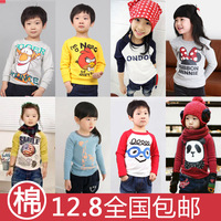 New 2013 spring and autumn cartoon boys clothing female child long-sleeve T-shirt baby basic shirt size:3T-8 fast shipping