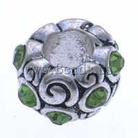 Free shipping!!!Zinc Alloy European Beads,for Jewelry, Drum, antique silver color plated, without troll & with rhinestone