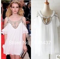 fashion brand dress 2013 summer dress white beaded handmade silk one-piece dress