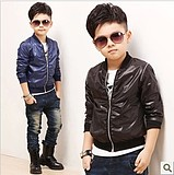 2013 autumn glossy male child jacket outerwear zipper sweater