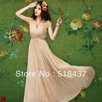 flowing dress longuette Yarn one-piece dress summer high waist lace plus size chiffon full dress free shipping