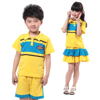 Free shipping 2013 summer customize children's clothing Men Women primary school students school uniform