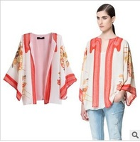 Drop Shipping 2013 European/American Autumn Brand Z Irregular Flora Print Japanese Kimono  length Chiffon Coat Blouse