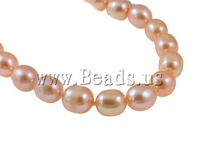 Free shipping!!!Natural Cultured Freshwater Pearl Jewelry Sets,2013 new summer, bracelet & necklace, Rice, natural, pink, 7mm