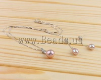 Free shipping!!!Natural Cultured Freshwater Pearl Jewelry Sets,Jewelry Accessories, Round, natural, pink, 23x10mm, 36x8mm