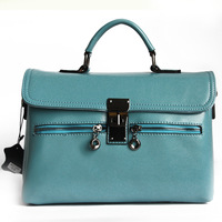 2013 spring and summer women's handbag fashion cowhide candy color brief shoulder bag messenger bag