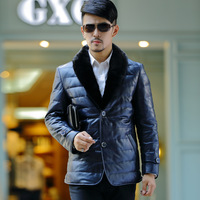 Free Shipping Akeswor male genuine sheepskin leather down genuine leather clothing male medium-long mink outerwear