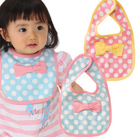 Small bow dot bib baby magic button small bib bibs baby bib
