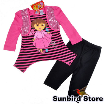 WYD9, 5sets/lot, Dora children clothing sets for Spring/Autumn, long sleeve stripe T shirt outwear  + pant sets for 1-5Y.