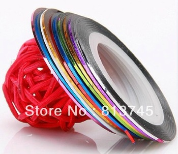 Free shipping 20 color mixed, new 2014 Striping Tape Metallic Yarn Line Nail Art Decoration Decals Nail Stickers, 500 rolls/lot