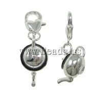 Free shipping!!!Zinc Alloy Lobster Clasp Charm,2013 fashion women, Teapot, enamel, nickel, lead & cadmium free, 11x30x13mm