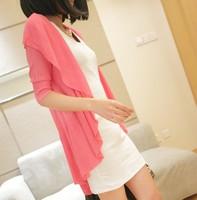 free shipping wholesale - spring women's medium-long irregular beach sweater cardigan cape sun protection clothing female