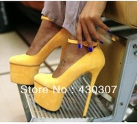 Super Yellow Platform Suede Designer high Heels shoes  2013 Pumps Dropship