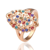 18K gold plated ring fashion ring Genuine Austrian crystals italina ring,Nickle free antiallergic factory prices iti sdt GPR004