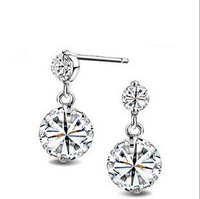 Free Shipping Zircon Stud Earrings  Wholesale Fashion Jewelry  925 Silver  Natural Crystal Earrings Earring Vintage Jewelry