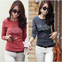 2012 Autumn new Slim was thin primer shirt Korean women cotton round neck long-sleeved T-shirt printed letters