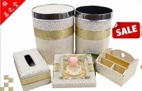 Luxury large three-dimensional cutout gold plated garbage bucket tissue box holder ashtray set