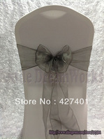 New products in August- Dark Sliver Organza Sash For Wedding Event & Party Decoration