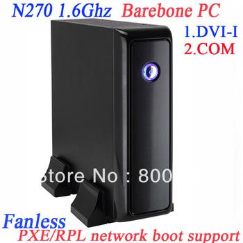 Fanless barebone mini server PXE network boot mini pc  thin clients with RS232 DVI-I  intel atom N270 1.6Ghz GMA950 graphic