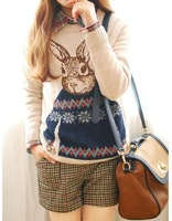 New winter 2013 Korean Women College Wind rabbit Mr. loose round neck pullover women jacquard