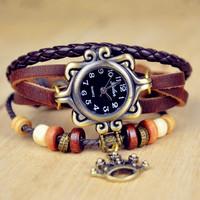 New arrivals Hot 2013 fashion ladies flower style bronze quartz analog dial retro 100% quality leather watch GZ1379015