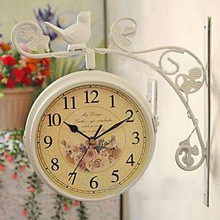 Fashion double faced rustic wall clock wrought iron mute antique vintage double faced clock and watch white(China (Mainland))