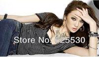 Free Shipping!Fashion's sexy stripe/V wide knitting coat sleeve/T-shirt/RG6025