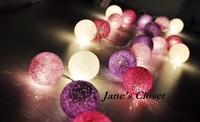 Free shipping  20Balls/Set 3M white+pink+shadow purple Holiday decoration lights lamp/String Cotton Light