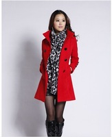 Wholesale & Retail Women's Trench Coat With Good Quality Plus Size XXL Long/Short Woolen Winter Jackets Free Shipping WO-010