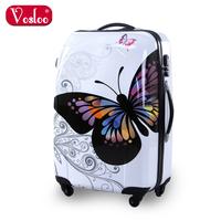 Vosloo butterfly trolley luggage women's luggage travel bag luggage bag 20 24 universal wheels luggage