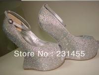 15cm Brand platform sandals fashion lady's shoes crystal rhinestone high heels summer pumps  shoes women