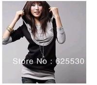 Promotion excellent quality, unique fashion design excellent quality ladies false-two pieces t shirt