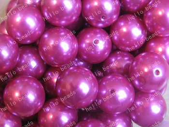 100pcs/lot Purple Pearl Chunky Beads 20mm Chunky Gumball Beads Imitation Pearl Magenta