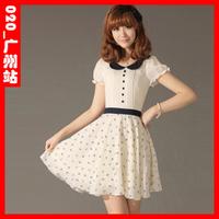 2013 women's sweet slim puff sleeve chiffon one-piece dress peter pan collar one-piece dress