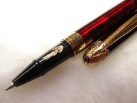 Crocodile Gold Dust Cap Flash Red Roller Ball Pen CR35