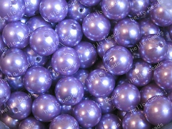 100pcs/lot Purple Pearl Chunky Beads 14mm Chunky Gumball Beads Imitation Pearl