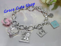 Free Shipping Charm Bracelet Printed Book Pendant Bracelet Brand Jewelry 2 Color Top Quality Package (Dust bag,Gift Box) #JCB160