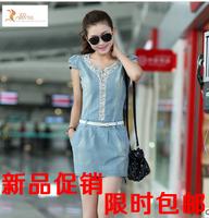 2013 summer women's gentlewomen slim diamond lace patchwork denim one-piece dress