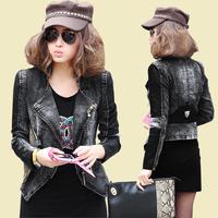 2014 new spring and autumn women casual denim  blazer short design slim PU leather stitching leisure thin coat Y2P1 TP1
