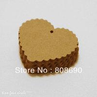 Set of 100, Gift Tags, 75MM x 65MM, Kraft Heart Tags