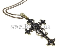 Free shipping!!!Zinc Alloy Jewelry Necklace,Cheap, with Resin & Iron, zinc alloy lobster clasp, Cross