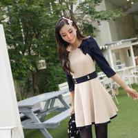 Meters women's 2013 autumn gentlewomen slim preppy style slim waist half sleeve one-piece dress