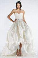 Latest New Collection Sweetheart Hi Lo Front Short Long Back Taffeta Applique Lace Designer Wedding Dress