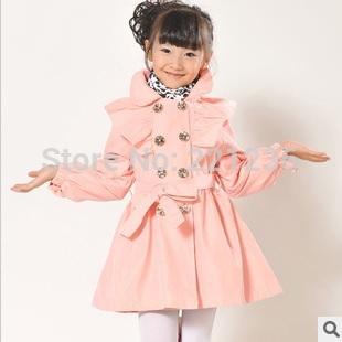 Free shipping children's clothing girls coat children autumn fashion double-breasted trench coat girls coat(China (Mainland))